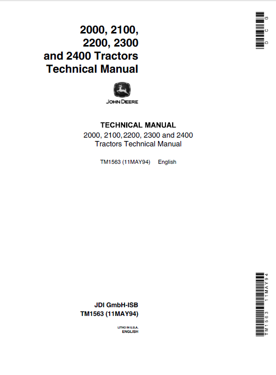 John Deere 2000, 2100, 2200, 2300, 2400 Tractors Repair Service Manual