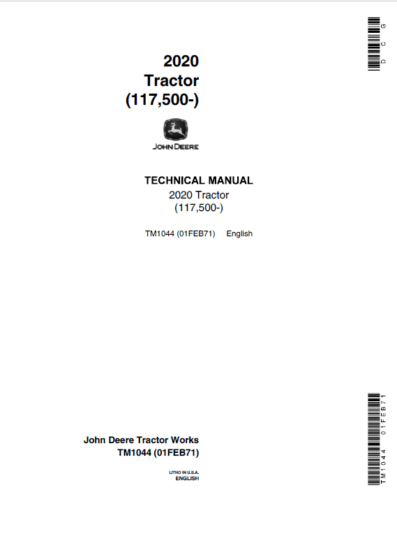 John Deere 2020 Tractors Service Manual (SN. from 117500 -)