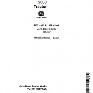 John Deere 2030 Utility Tractor Repair Service Manual