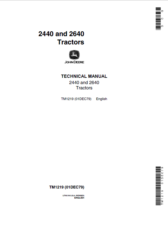 John Deere 2440, 2640 Tractors Repair Service Manual (SN. after 341000 -)