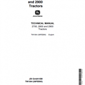John Deere 2700, 2800, 2900 Tractors Repair Service Manual