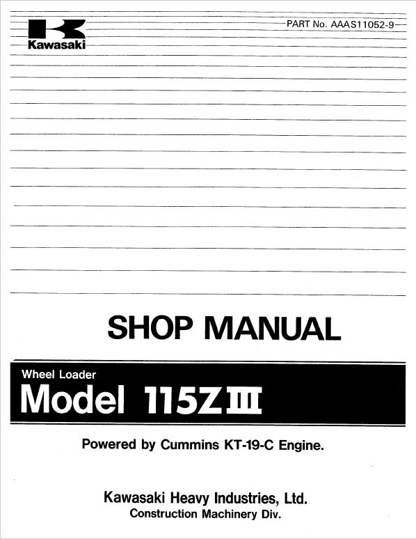 Kawasaki 115ZIII Wheel Loader Service Manual