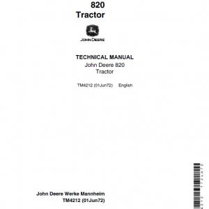 John Deere 820 Tractor Repair Service Manual (S.N after 37000 -)