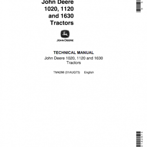 John Deere 1020, 1120, 1630 Tractors Repair Service Manual (S.N from 115000L - )