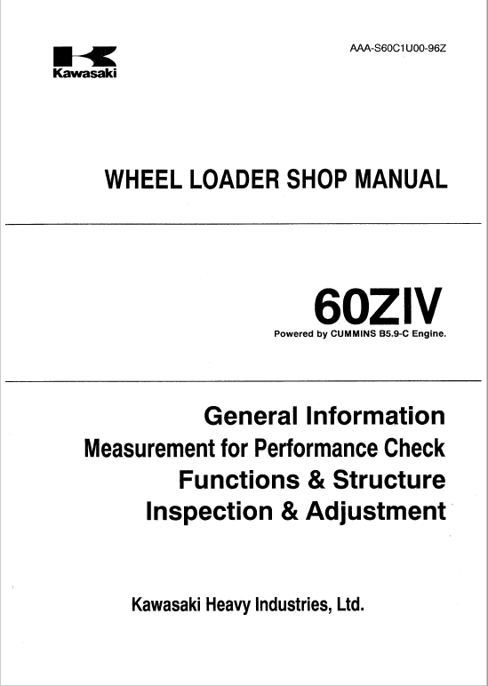 Kawasaki 60ZIV Wheel Loader Service Manual