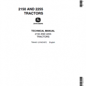 John Deere 2150, 2255 Tractors Repair Service Manual