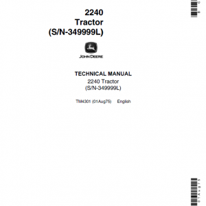 John Deere 2240 Tractor Repair Service Manual