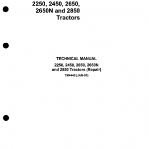 John Deere 2250, 2450, 2650, 2650N, 2850 Tractors Repair Service Manual