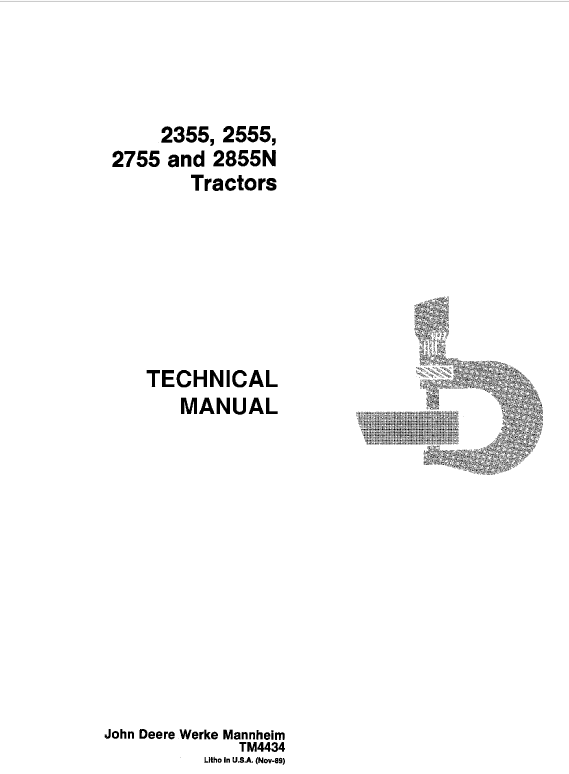 John Deere 2355, 2555, 2755, 2855N Tractors Repair Service Manual