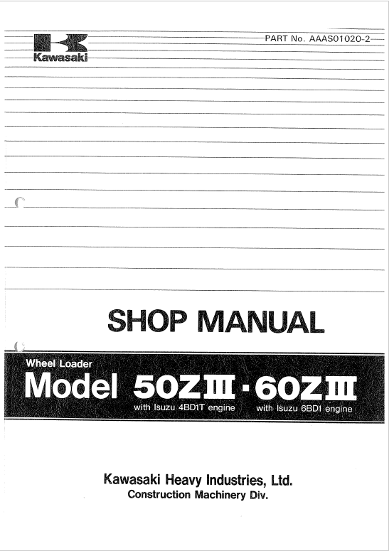 Kawasaki 50ZIII Wheel Loader Service Manual