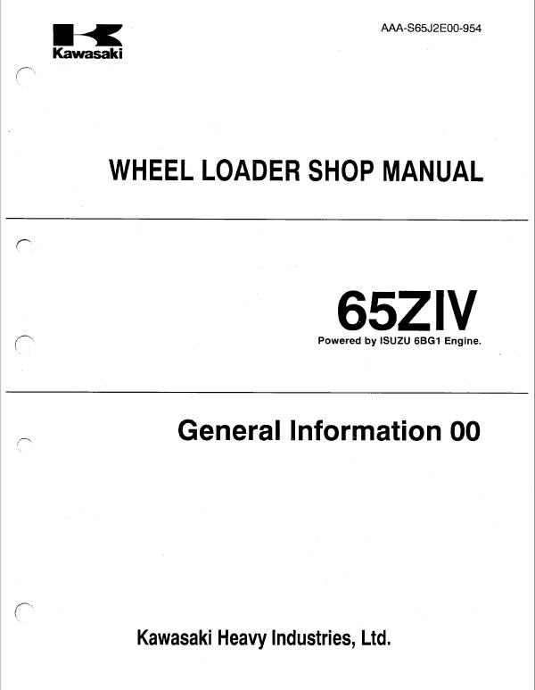 Kawasaki 65ZIV Wheel Loader Service Manual