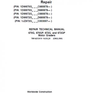 John Deere 670G, 670GP, 672G, 672GP Grader Service Manual (S.N 680878 & C003007 - )