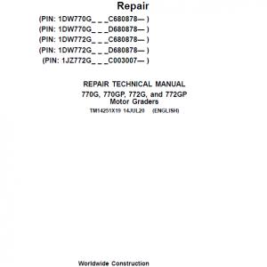 John Deere 770G, 770GP, 772G, 772GP Grader Service Manual (S.N 680878 & C003007 - )