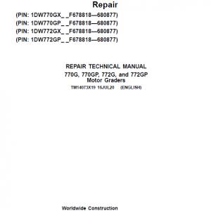 John Deere 770G, 770GP, 772G, 772GP Grader Service Manual (S.N F680878 - F680877)