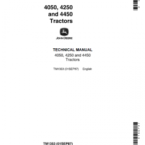 John Deere 4050, 4250, 4450 Tractors Repair Service Manual