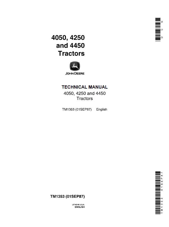 John Deere 4050, 4250, 4450 Tractors Repair Service Manual
