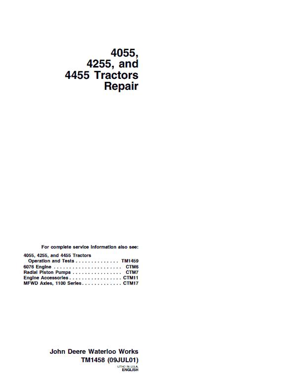 John Deere 4055, 4255, 4455 Tractors Repair Service Manual