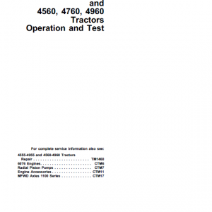 John Deere 4555, 4755, 4955 Tractors Repair Service Manual