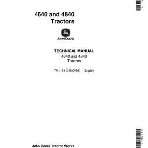 John Deere 4640, 4840 Tractors Repair Service Manual
