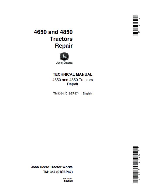 John Deere 4650, 4850 Tractors Repair Service Manual