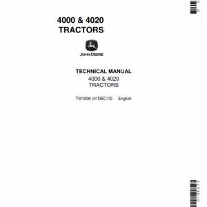 John Deere 4000, 4010, 4020 Tractors Repair Service Manual