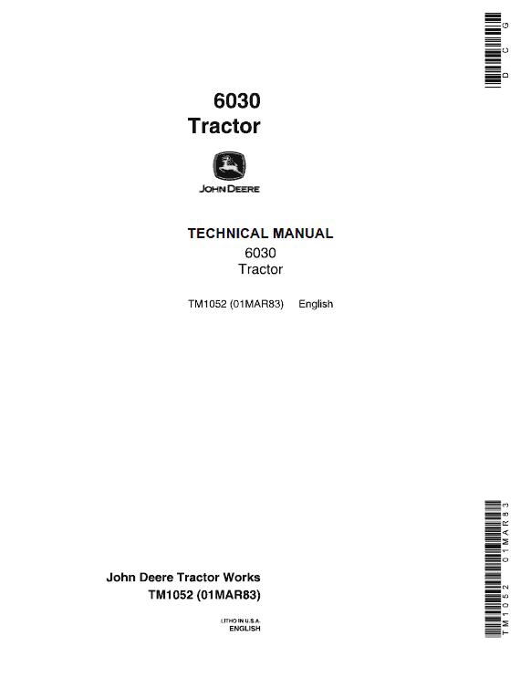 John Deere 6030 Tractor Repair Service Manual TM1052