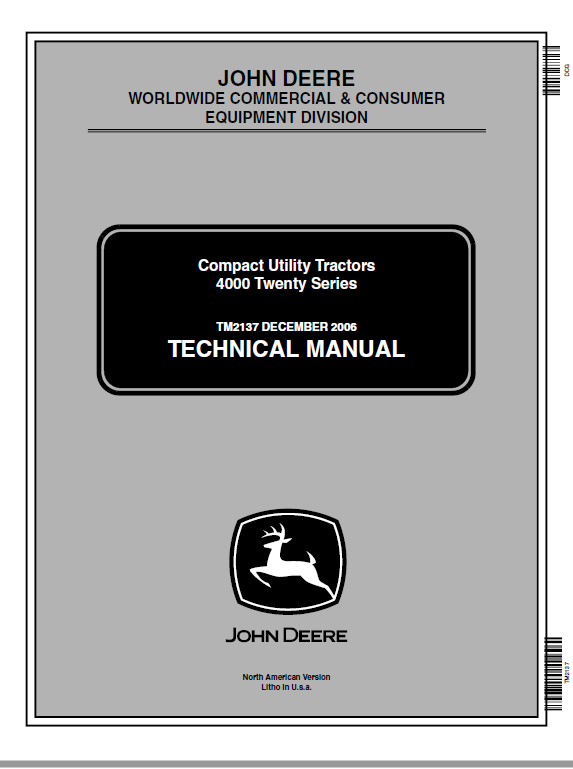 John Deere 4120, 4320, 4520, 4720 Compact Utility Tractors Service Manual (Without Cab)