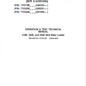 John Deere 318E, 320E, 324E SkidSteer Loader Manual (EH Controls - SN after J249291)