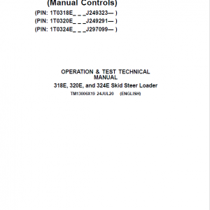 John Deere 318E, 320E, 324E SkidSteer Loader Manual (Manual Controls - SN after J249291)