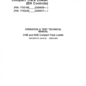 John Deere 319E, 323E SkidSteer Loader Service Manual (EH Controls - SN after G254917)