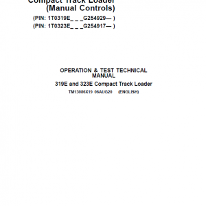 John Deere 319E, 323E SkidSteer Loader Manual (Manual Controls - SN after G254917)