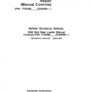 John Deere 326E SkidSteer Loader Service Manual (Manual Controls - SN after G254998)