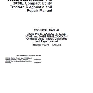 John Deere 3025E, 3032E, 3036E, 3038E Utility Tractors Service Manual (S.N from 610000 - )