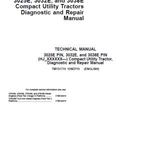 John Deere 3025E, 3032E, 3036E, 3038E Tractors Service Manual (S.N HJ100000 - KL100000)