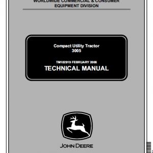 John Deere 3005 Compact Utility Tractor Repair Service Manual