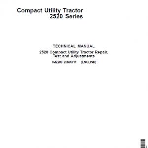 John Deere 2520 Compact Utility Tractor Repair Service Manual