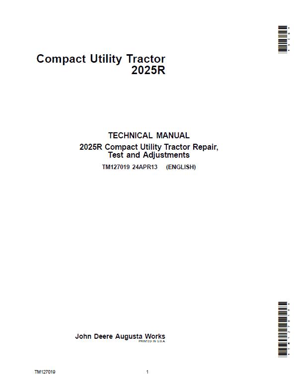 John Deere 2025R Compact Utility Tractor Repair Service Manual (S.N 010001-)