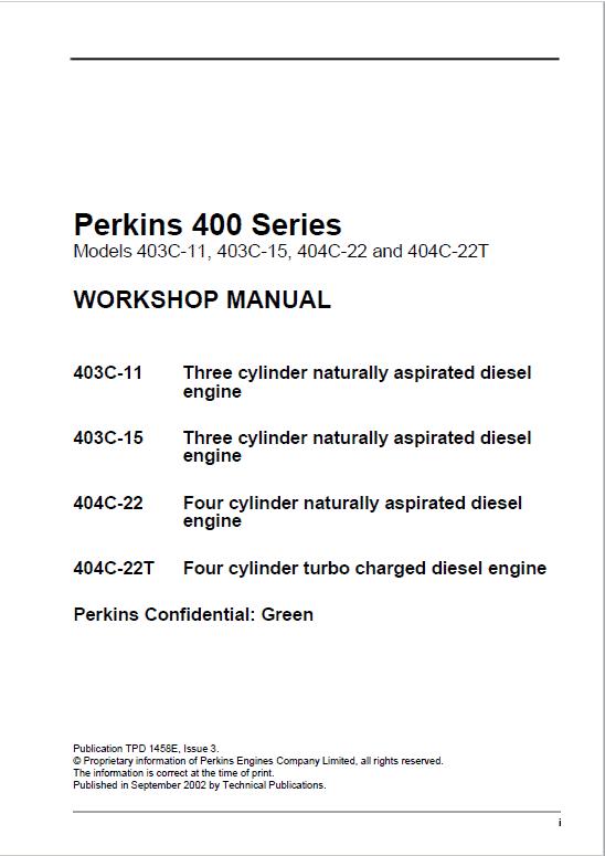 Perkins 403C-11, 403C-15, 404C-22, 404C-22T Engine Repair Manuals (400 Series)