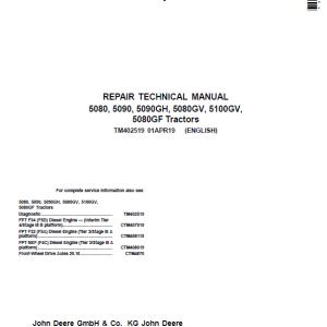 John Deere 5080, 5080GV, 5080GF, 5090, 5100GV Tractors Repair Service Manual
