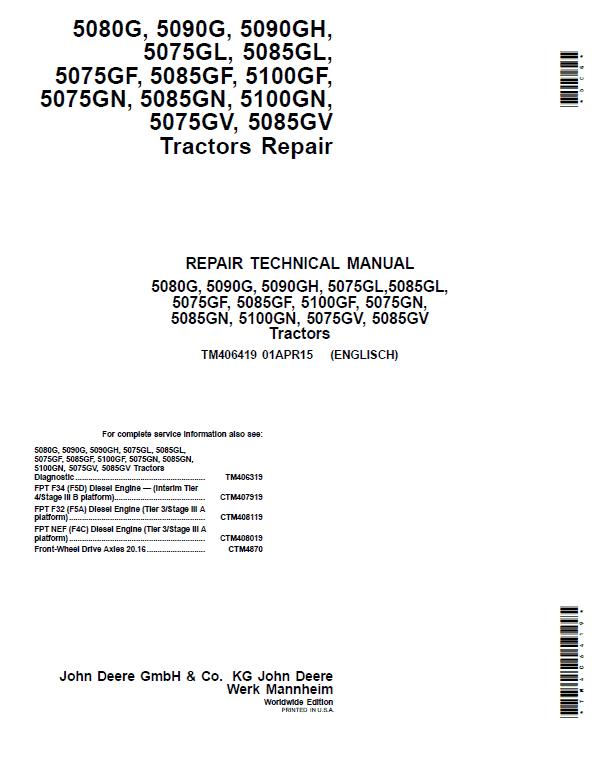 John Deere 5080G, 5085GN, 5085GL, 5085GF, 5085GV Tractors Repair Service Manual