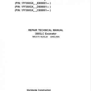 John Deere 350GLC Excavator Service Manual (PIN: 1FF350GX_C808001, D808001, E808001 -)