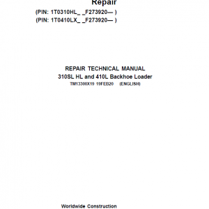 John Deere 310SL HL, 410L Backhoe Loader Service Manual (S.N F273920 -F390995)