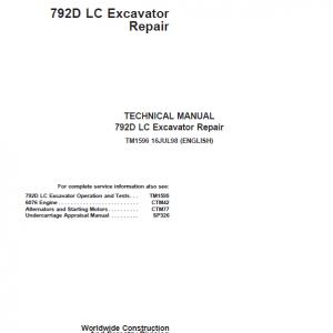 John Deere 792D LC Excavator Repair Service Manual