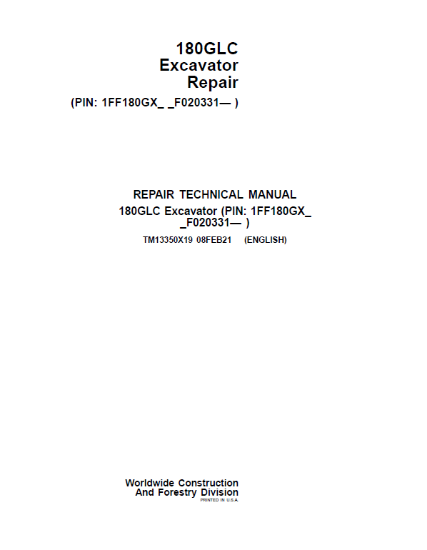 John Deere 180GLC Excavator Repair Service Manual (S.N after F020331 -)