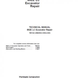 John Deere 892E LC Excavator Repair Service Manual