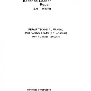 John Deere 310J Backhoe Loader Repair Service Manual (S.N before - 159759 )