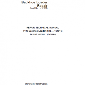 John Deere 410J Backhoe Loader Repair Service Manual (S.N before - 161616 )