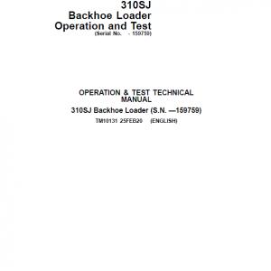 John Deere 310SJ Backhoe Loader Repair Service Manual (S.N before - 159759)