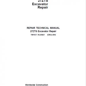 John Deere 27ZTS Excavator Repair Service Manual