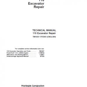 John Deere 110 Excavator Repair Service Manual
